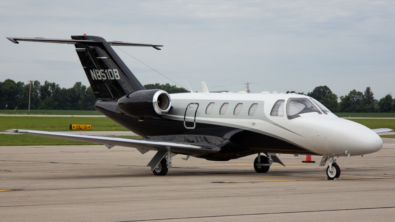 Photo of N851DB - PRIVATE Cessna Citation 525 at DLZ